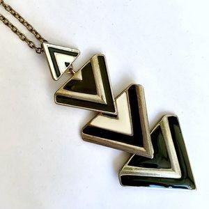 Art Deco black and gold triangle costume jewelry